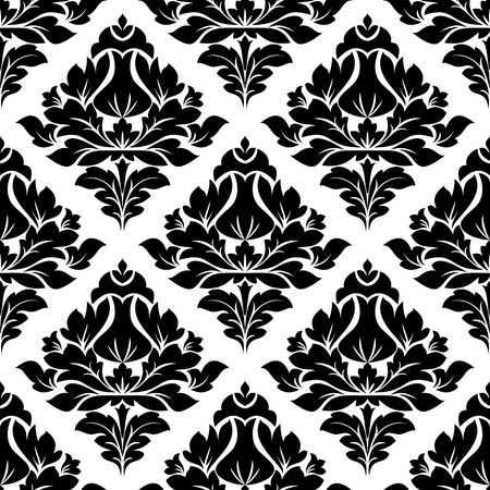 Black and white illustration of a seamless repeat floral arabesque pattern with a diamond shaped motif in square format suitable for textiles Vector