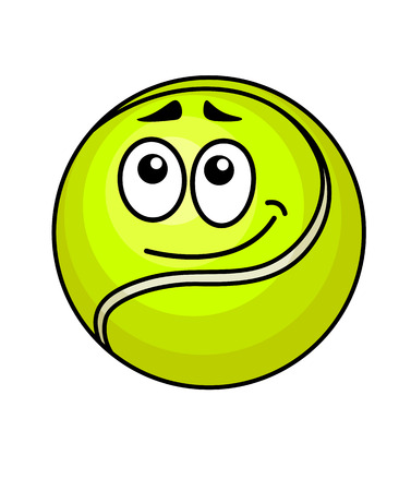 wry: Vector illustration of a cute little fluorescent green cartoon tennis ball with a wry smile and raised eyebrows isolated on white Illustration
