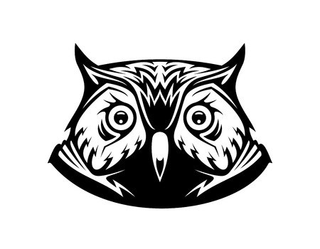 Black and white vector illustration of the head a wise old owl looking directly at the viewer, on white Vector