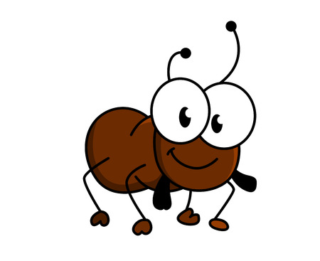 Adorable little brown cartoon ant with a happy smile and googly eyes, silhouette vector illustration on white Ilustração