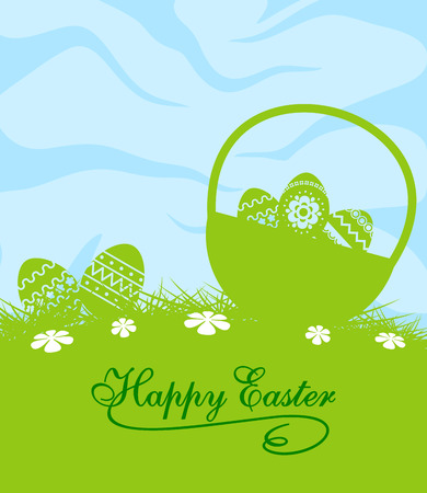 Fresh blue and green Easter greeting card design with the silhouettes of pretty patterned easter eggs in a spring meadow with white daisies under a blue sky Vector