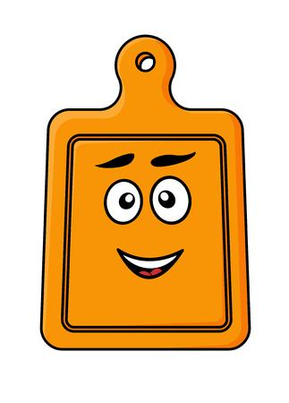 cocina caricatura: Dibujos animados ilustración vectorial de un feliz sonriendo tabla de madera de cortar de cocina aislado en blanco