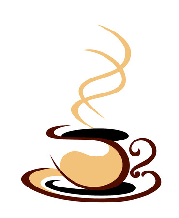 illustraion: Stylized cartoon vector sketch illustraion in shades of brown of a hot steaming cup of coffee on a white background