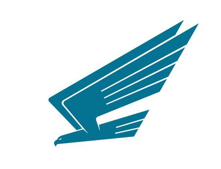 insignias: Ilustración vectorial silueta de un águila en vuelo descendiendo sobre su presa con las alas levantadas, aislado en blanco Vectores