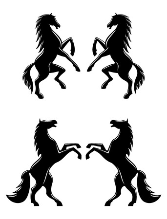 Silhouettes of two pairs of prancing rearing horses with flowing manes and tails in profile, black and white vector illustration
