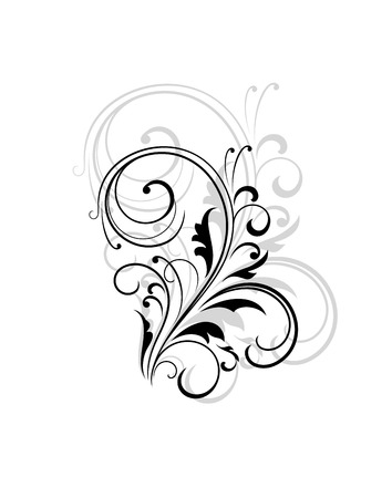 enlarged: Simple black and white swirling floral element with a repeat enlarged pattern behind for an elegant retro design, vector illustration