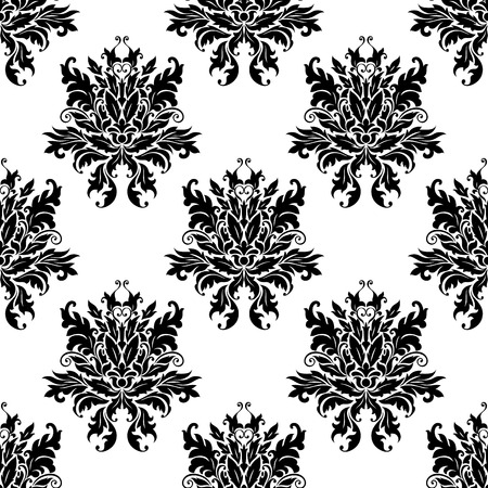 Ornate black and white floral arabesque design in a seamless pattern Vector