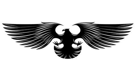 Black heraldic eagle isolated on background Vector