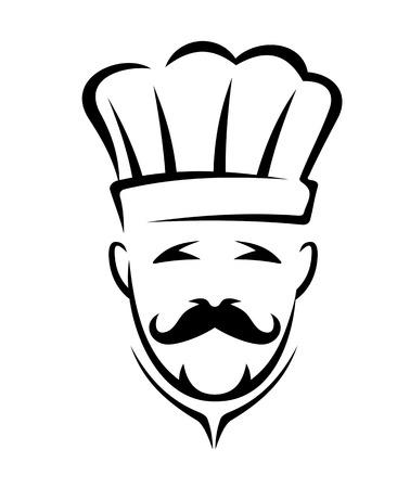 chapeau blanc: Ic�ne stylis�e en noir et blanc d'un chef, avec moustache et chapeau blanc de chef, isol� sur fond blanc