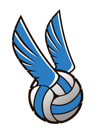 Vector cartoon illustration of a volleyball ball with wings in blue and grey isolated on white Vector