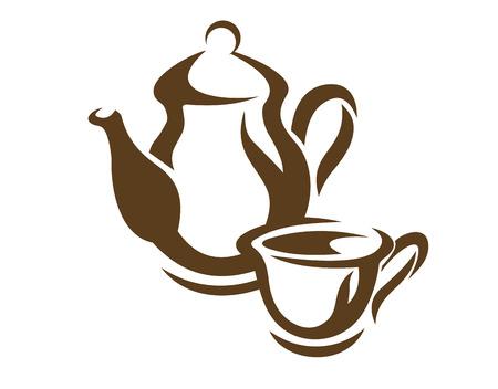 Vector doodle Skizze einer Teekanne und Teetasse oder Kaffeekanne und Tasse Kaffee in braun auf weißem Hintergrund