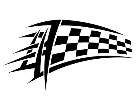 sports race emblem: Racing tribal tattoo with checkered flag