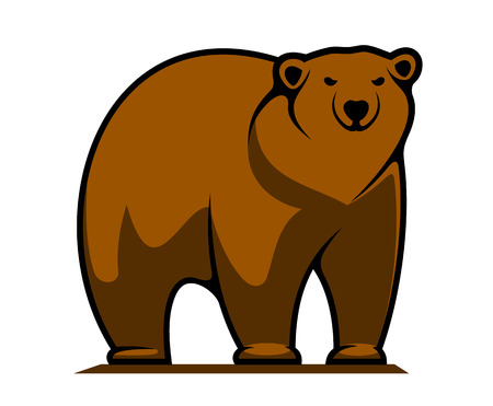 brown: Cartoon illustration of a big brown grizzly or brown bear standing watching the viewer isolated on white