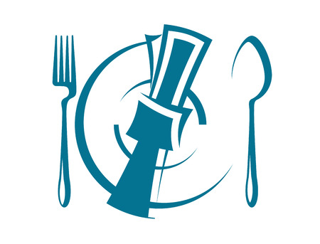 Cartoon sketch of a stylized dinnertime table setting with a fork and spoon on either side of a napkin lying on top of a plate, overhead perspective Vector