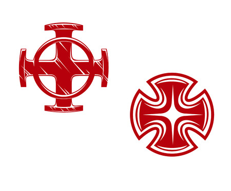Vector illustration of two stylized crosses, one of Celtic form on a white background Vector