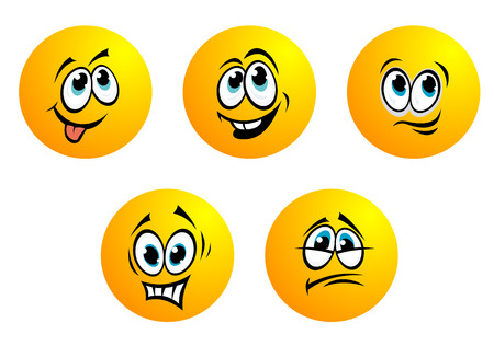 bashful: Five cute yellow round vector emoticons with blue eyes showing a range of expressions including fear, disappointment, bashful, smiling and toothy laughter Illustration