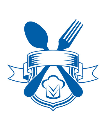 caterers: Vector cartoon illustration of a restaurant or caterers emblem with a ribbon banner over a shield and crossed spoon and fork Illustration