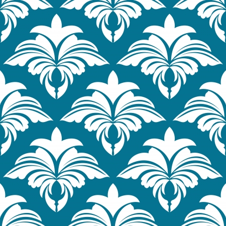 Azure seamless pattern background with floral design elements Vector