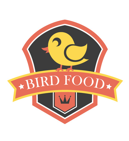 Bird food emblem with a shield containing a cute little yellow cartoon canary perched on a banner containing the text - Bird Food - over a crown
