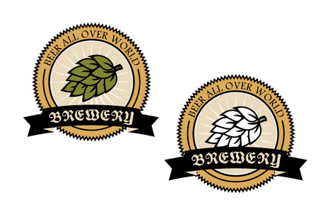 Two circular brewery labels with a banner with text and a hop enclosed in a circular frame saying - Beer all over world - vector illustration Vector