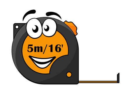 Vektor-Cartoon-Illustration von einem 5-Meter oder 16 Fuß lange einziehbare Maßband mit einem süßen Smiley-Gesicht isoliert auf weiß
