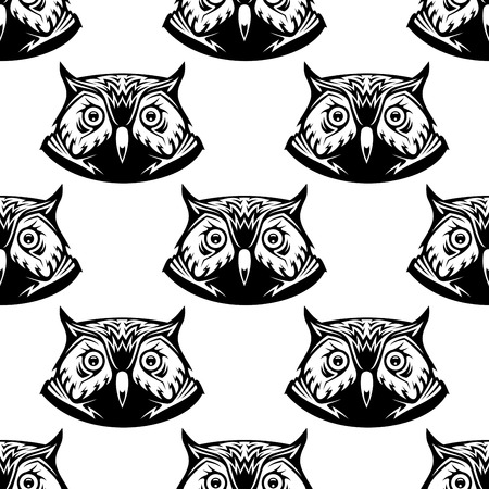 Black and white seamless pattern of wise owl heads with big eyes looking directly at the viewer, vector illustration Vector