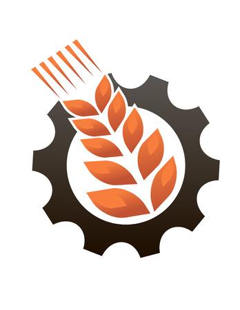 sheaf: Emblema que representa a la industria y la agricultura con un maduro oreja de oro de trigo sobre una pieza dentada o rueda dentada, vector, silueta, ilustraci�n, dise�o, Vectores