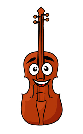 fiddle: Vector cartoon illustration of a happy brown wooden violin with a big smile and googly eyes isolated on white