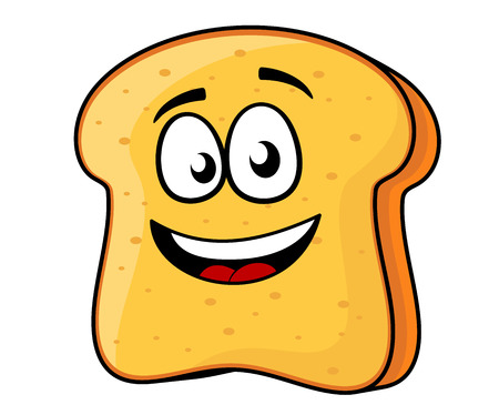 crusty: Vector cartoon illustration of a happy slice of bread or toast with a beaming smile isolated on white Illustration