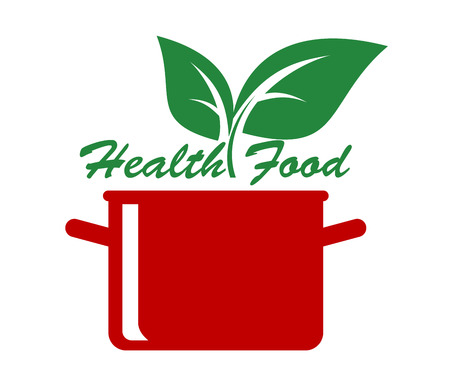 fresh vegetable: Health food icon with fresh green leaves above a cooking pot and the text - Health Food - for a healthy diet and lifestyle, vector cartoon illustration