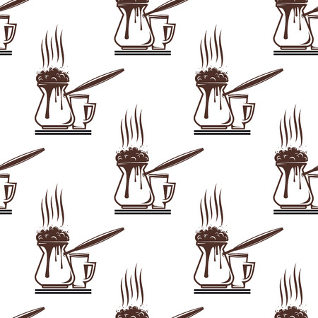 Coffee seamless pattern with saucers for fast food design Vector