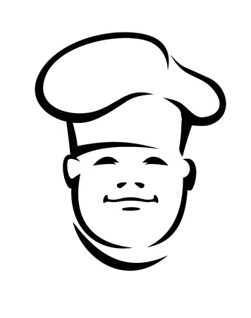 Black and white vector doodle sketch of the face of a a smiling young cook or chef in a toque Vector