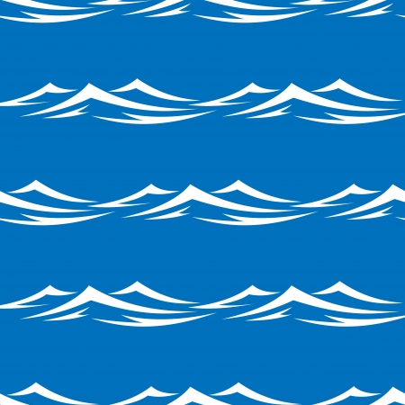 Seamless pattern of pretty white capped waves in a blue ocean or sea, vector illustration in square format Vector
