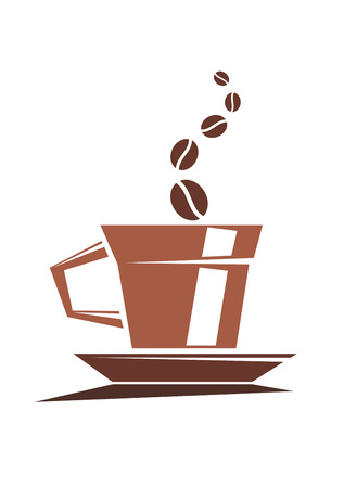 forth: Vector cartoon illustration depicting a strong cup of full roast coffee with coffee beans issuing forth as steam on a white background Illustration