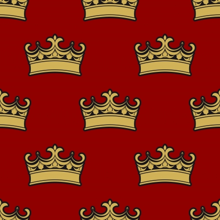 Seamless pattern of golden crowns depicting royalty on a brown background, vector illustration Vector