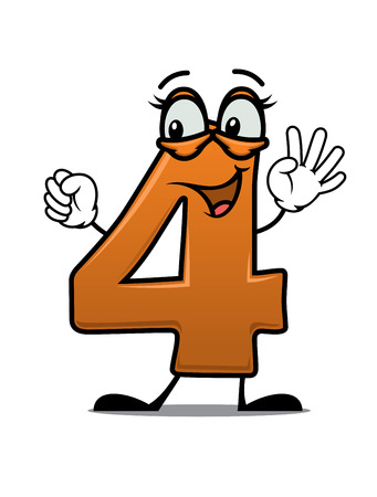 Vector cartoon illustration of an excited happy number 4 waving its arms and smiling suitable as a decoration fro a kids birthday Vector