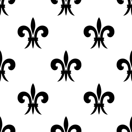 french symbol: Black and white vector illustration of a repeat seamless pattern of French lilies of the valley or fleur de lys
