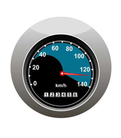 nissan: Car speedometer showing someone speeding at 130 kilimotres per hour and a high mileage over 123000 kilometres, isolated on white