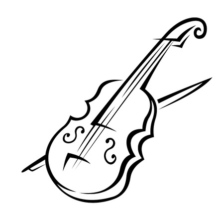 Black and white doodle sketch of a violin isolated on white background for music design Illustration