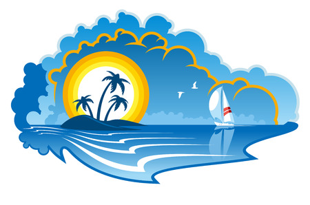 Vector cartoon illustration of an idyllic tropical island with palm trees and a yacht or sailboat depicting a summer vacation, travel or cruise Vector