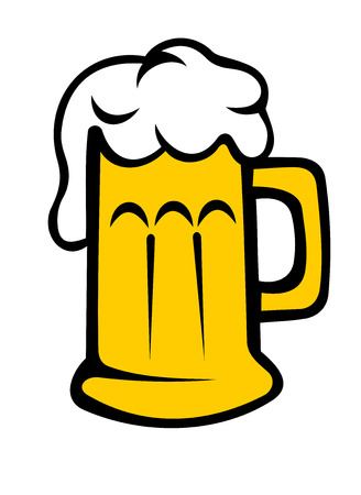 tankard: Vector cartoon illustration depicting a frothy tankard of beer or lager with the bubbles running down the glass or beer mug, isolated on white