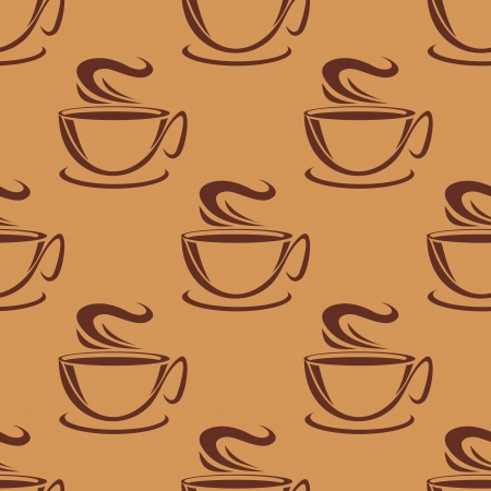 Seamless pattern of cups of steaming coffee or tea on a brown background, vector doodle sketch Vector