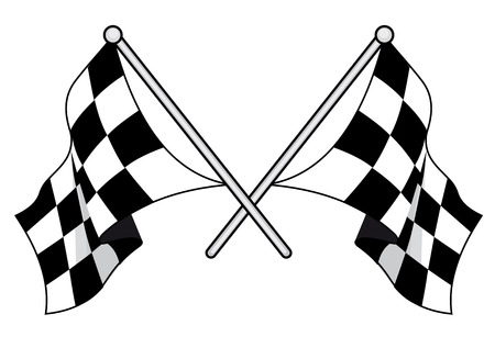 Crossed black and white checkered flags used in motor sport with waving fabric, vector illustration on a white background