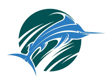 pez vela: Vector ilustración de dibujos animados de un juego o icono de la pesca deportiva con un pez espada saltando fuera del agua arremolinada