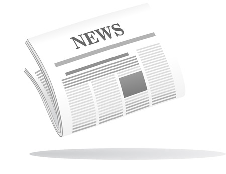 Vector cartoon illustration of a folded newspaper with the header News in grey and white with a shadow below Illustration