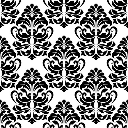 closely: Heavy seamless black and white arabesque seamless pattern with large closely spaced floral motifs
