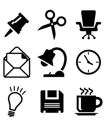 thumb tack: Set of office icons in a black and white vector including a thumb tack, scissors, chair, mail, lamp, clock, lightbulb and cup of tea for web design