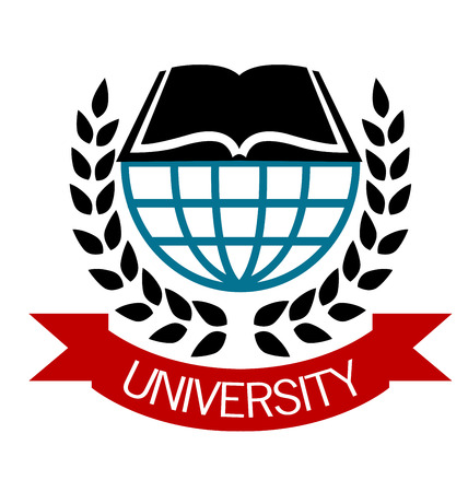 University emblem with a globe and open book surrounded by a laurel wreath with a ribbon banner below with the word - University Vector