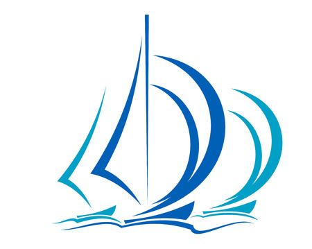 Dynamische zeilboten racen voor de wind over de oceaan in de kleuren blauw op witte