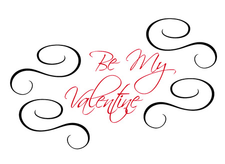 Calligraphic Be My Valentine header message with red text surrounded by black swirls, vector illustration Vector